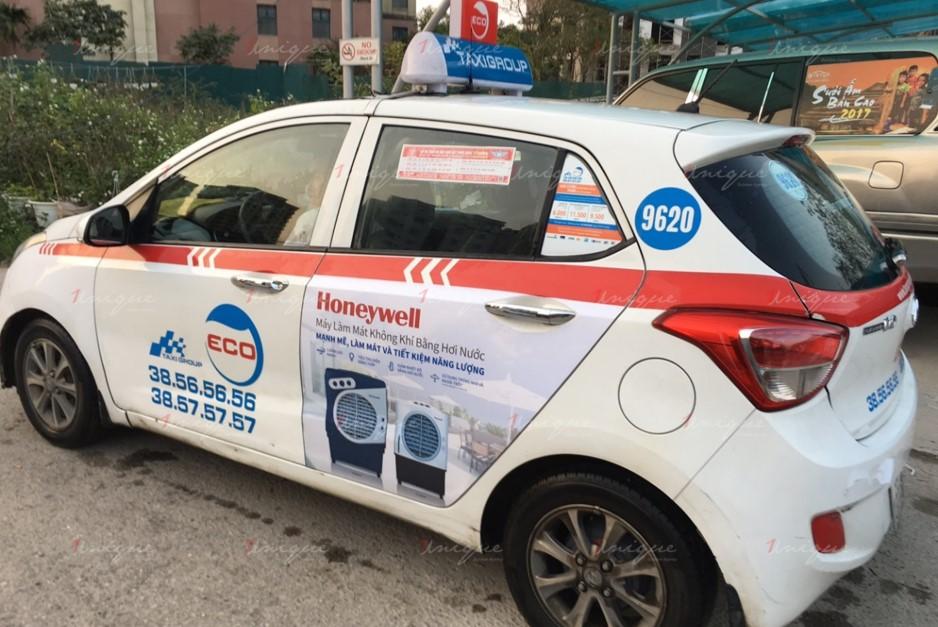 quảng cáo trên taxi cho honeywell
