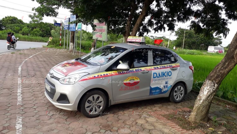 Quảng cáo trên taxi Long Biên